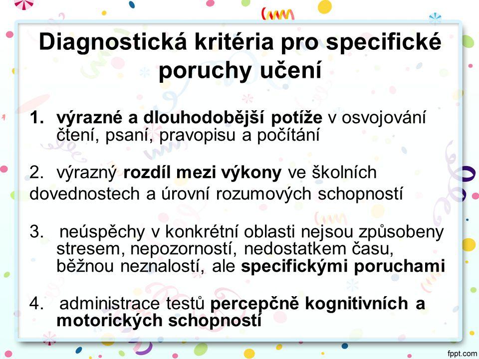 Diagnostická kritéria pro specifické poruchy učení