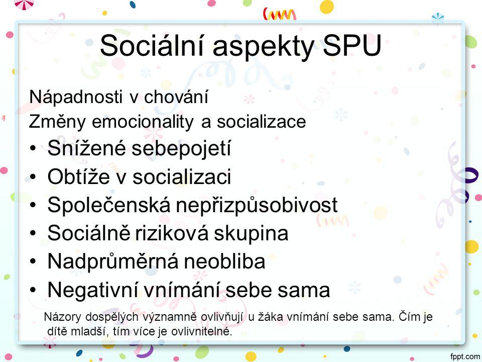 Sociální aspekty SPU Snížené sebepojetí Obtíže v socializaci