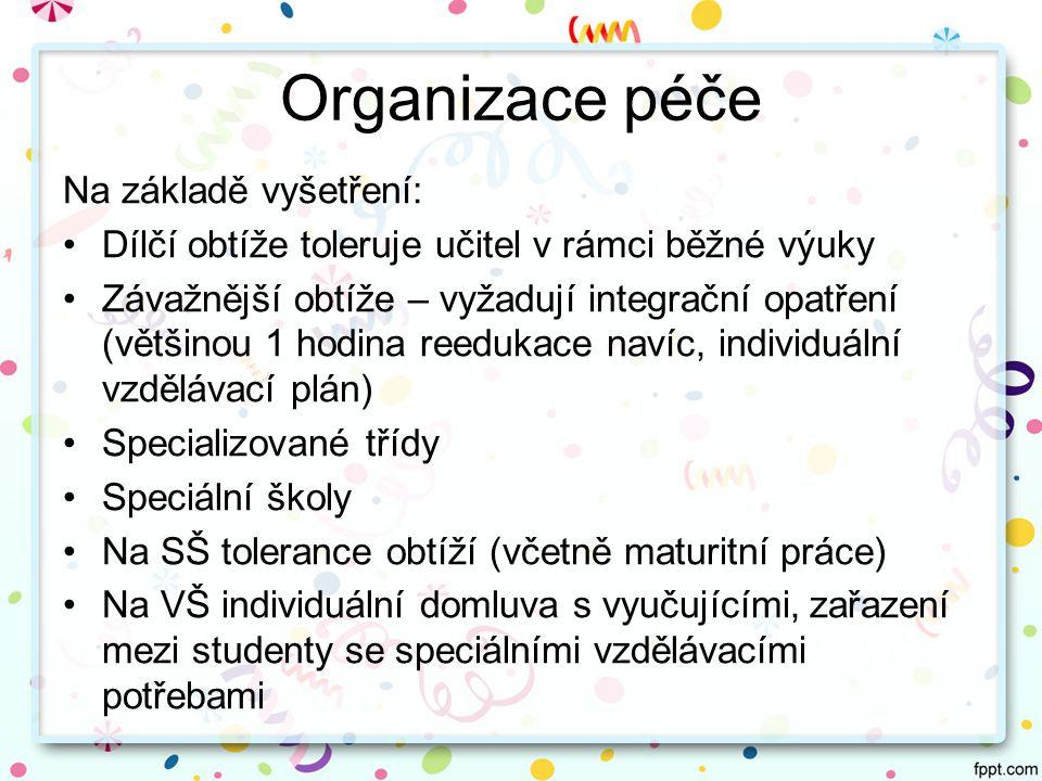 Organizace péče Na základě vyšetření: