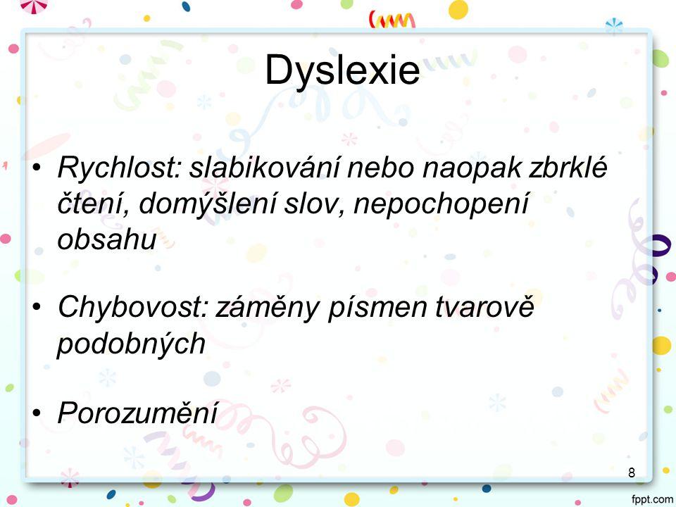 Dyslexie Rychlost: slabikování nebo naopak zbrklé čtení, domýšlení slov, nepochopení obsahu. Chybovost: záměny písmen tvarově podobných.