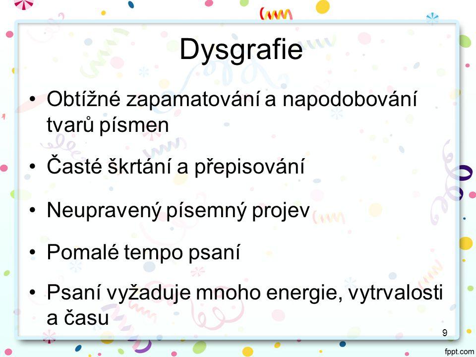 Dysgrafie Obtížné zapamatování a napodobování tvarů písmen