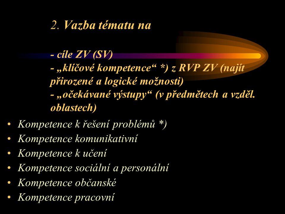 """2. Vazba tématu na - cíle ZV (SV) - """"klíčové kompetence"""