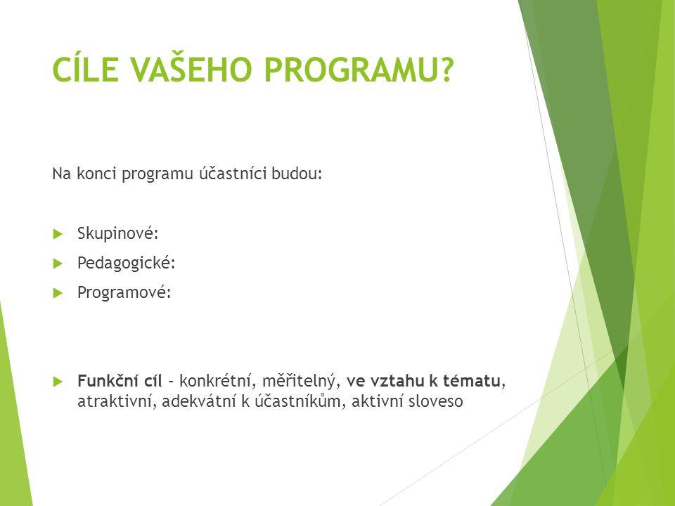 CÍLE VAŠEHO PROGRAMU Na konci programu účastníci budou: Skupinové: