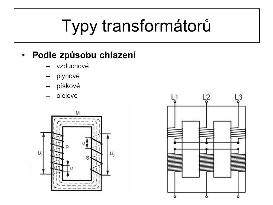 Typy transformátorů Podle způsobu chlazení vzduchové plynové pískové