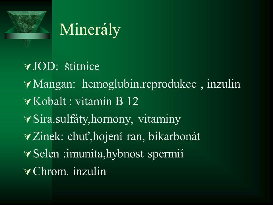 Minerály JOD: štítnice Mangan: hemoglubin,reprodukce , inzulin