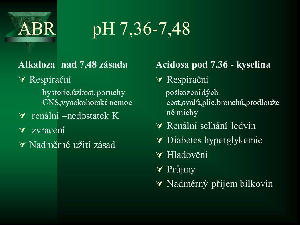 ABR pH 7,36-7,48 Alkaloza nad 7,48 zásada Acidosa pod 7,36 - kyselina