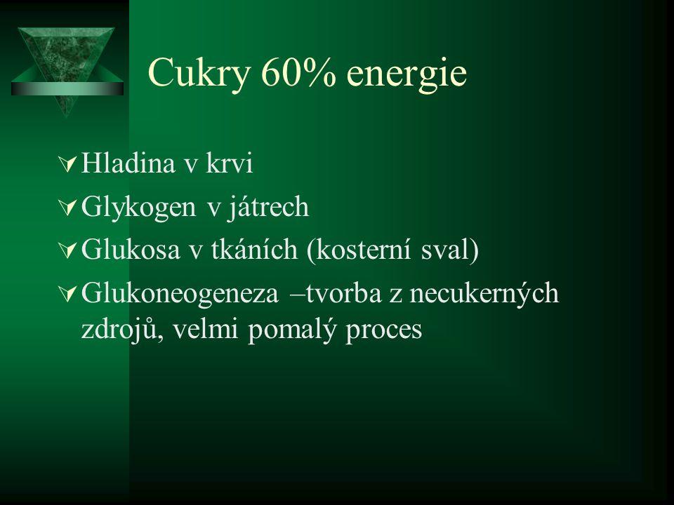 Cukry 60% energie Hladina v krvi Glykogen v játrech