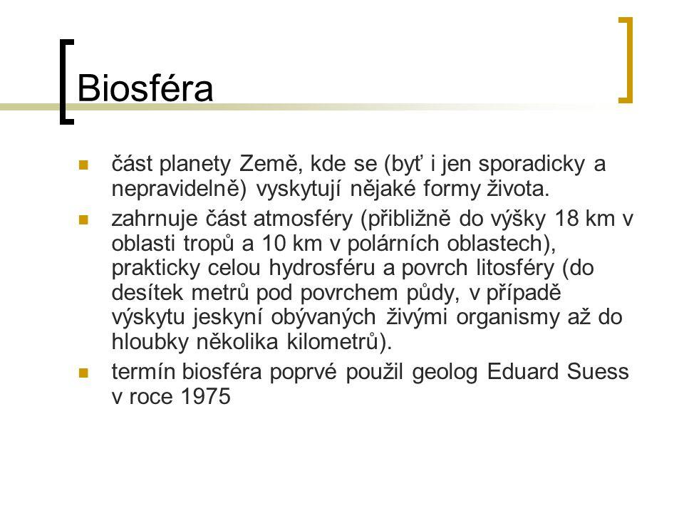Biosféra část planety Země, kde se (byť i jen sporadicky a nepravidelně) vyskytují nějaké formy života.