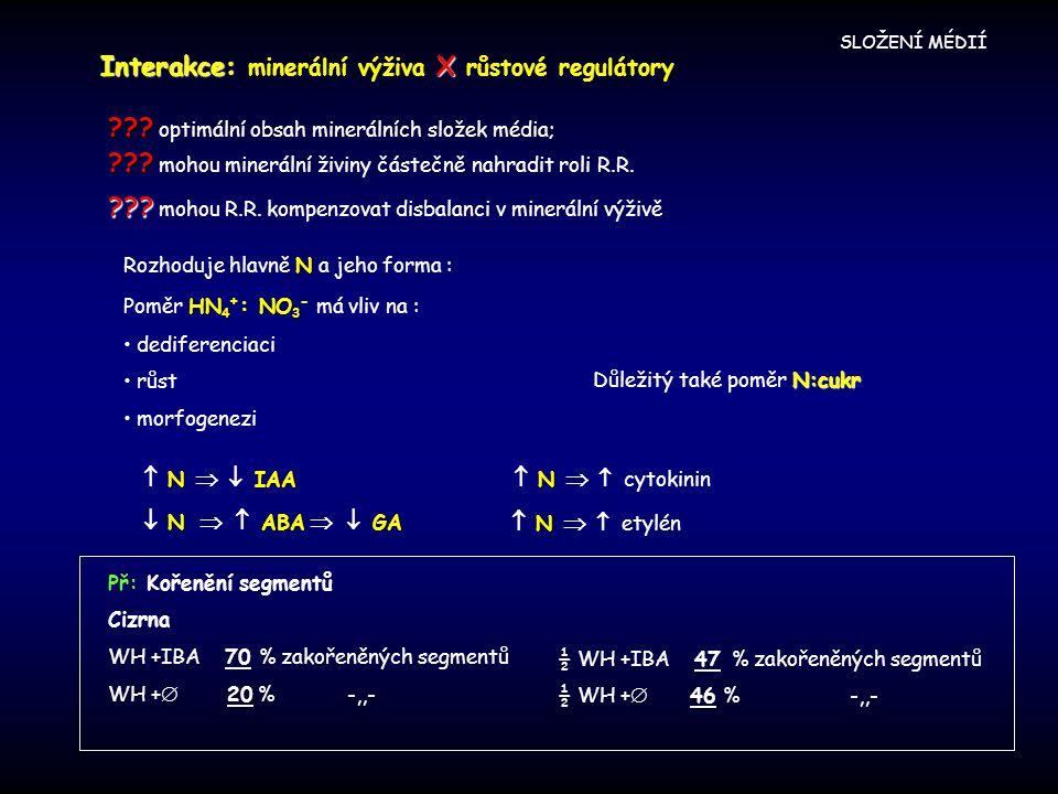 Interakce: minerální výživa X růstové regulátory