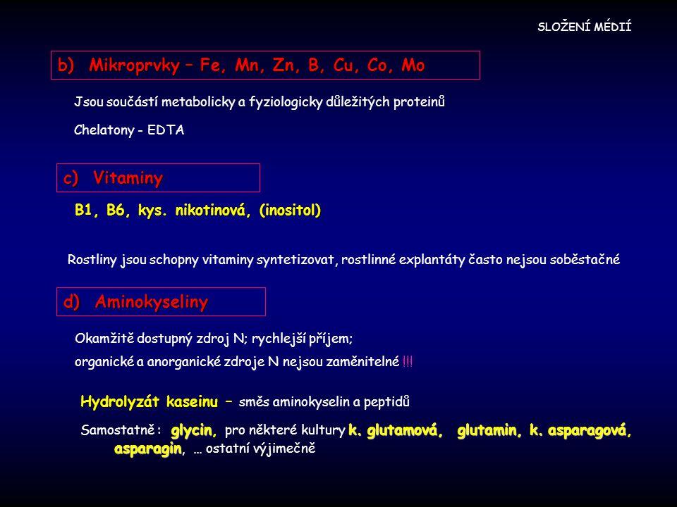 b) Mikroprvky – Fe, Mn, Zn, B, Cu, Co, Mo