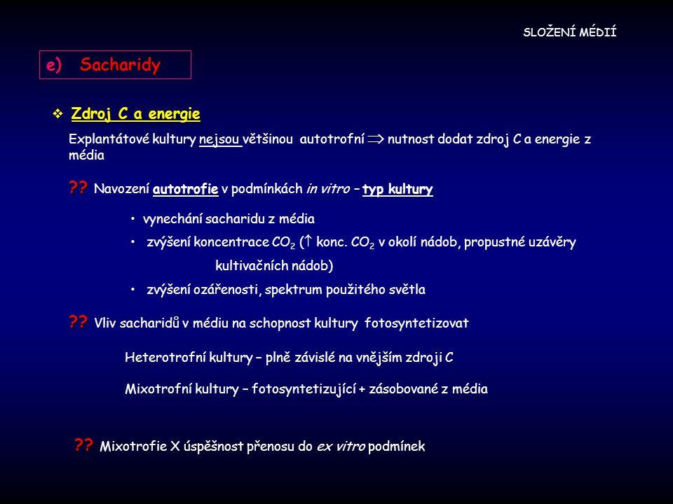 Navození autotrofie v podmínkách in vitro – typ kultury