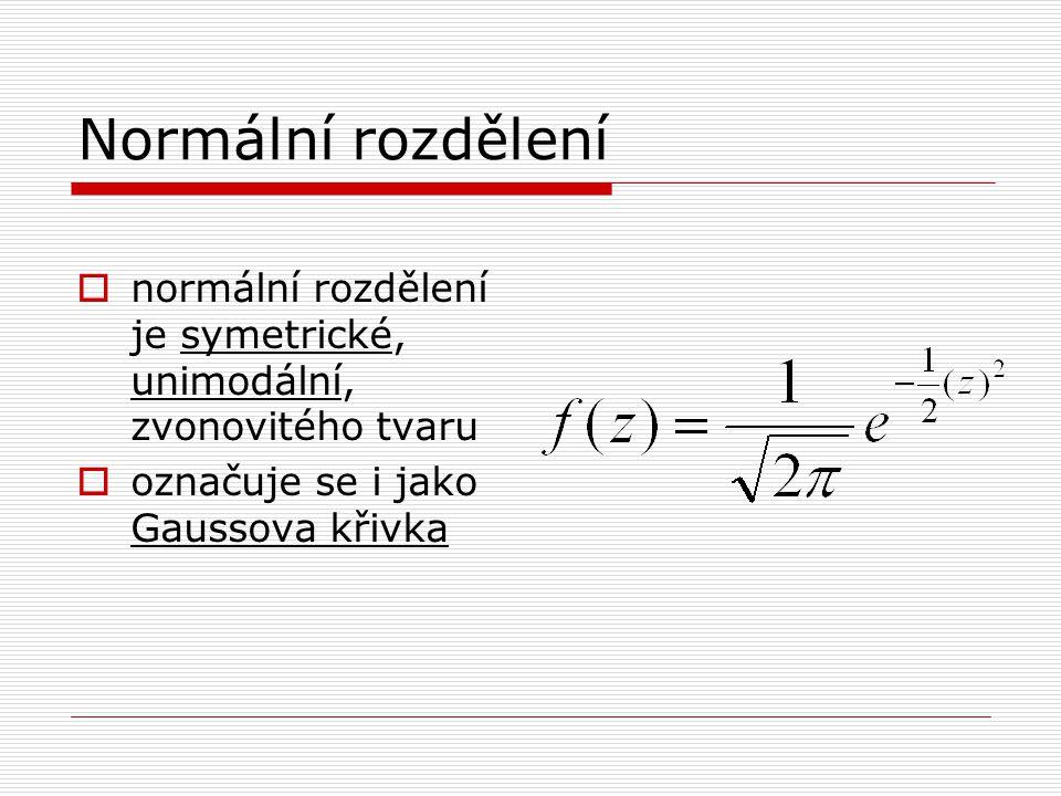 Normální rozdělení normální rozdělení je symetrické, unimodální, zvonovitého tvaru.