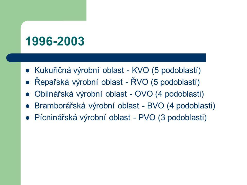 1996-2003 Kukuřičná výrobní oblast - KVO (5 podoblastí)