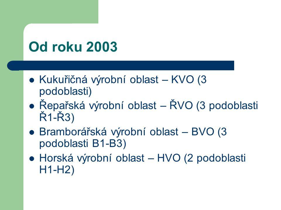 Od roku 2003 Kukuřičná výrobní oblast – KVO (3 podoblasti)