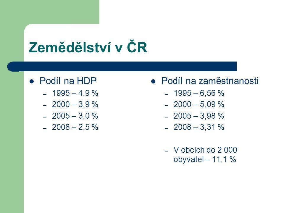 Zemědělství v ČR Podíl na HDP Podíl na zaměstnanosti 1995 – 4,9 %