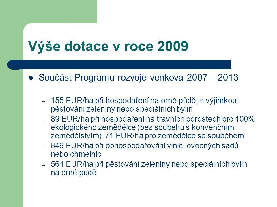 Výše dotace v roce 2009 Součást Programu rozvoje venkova 2007 – 2013