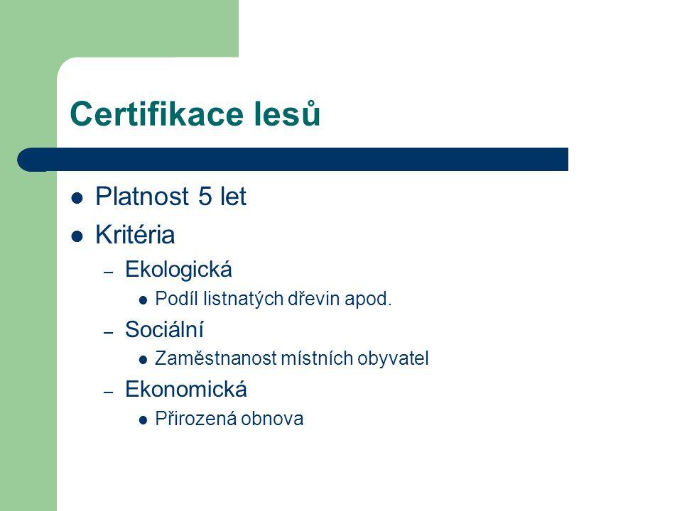 Certifikace lesů Platnost 5 let Kritéria Ekologická Sociální