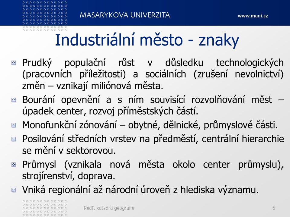 Industriální město - znaky
