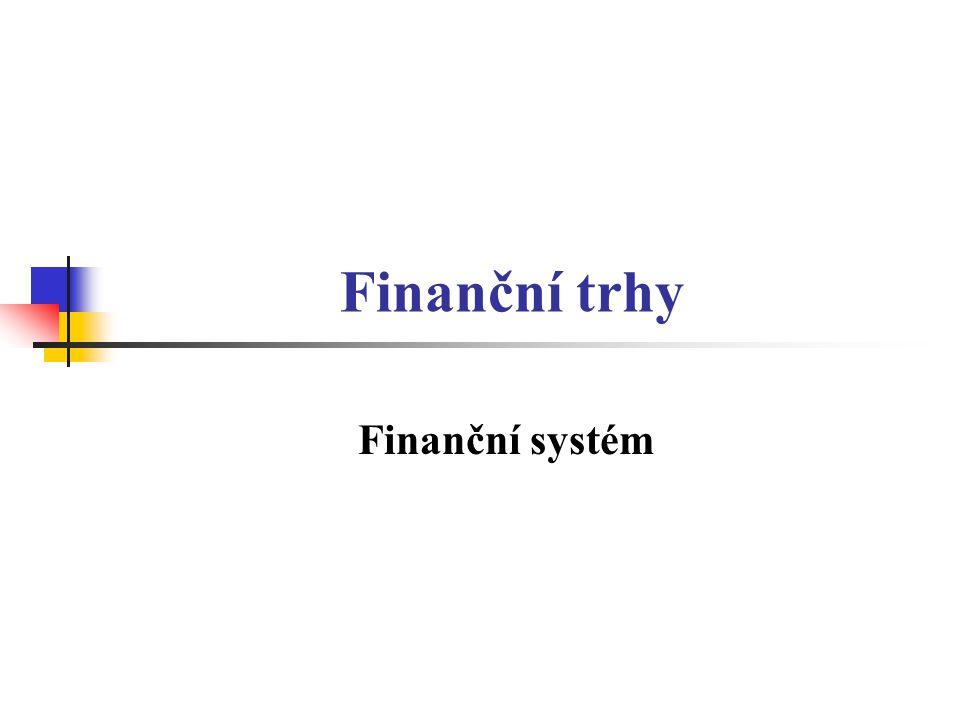 Finanční trhy Finanční systém