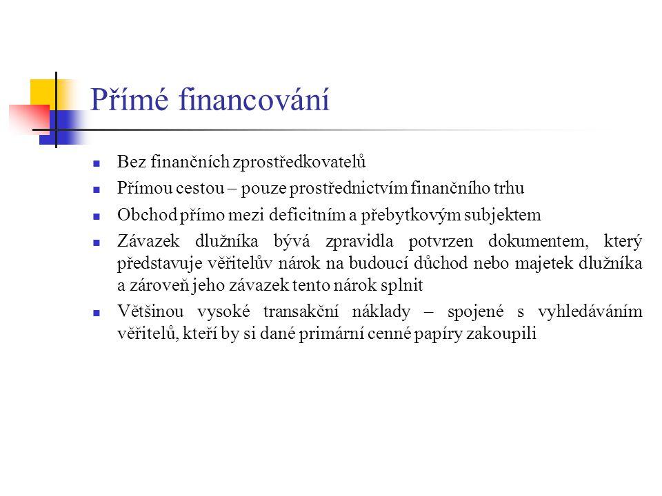 Přímé financování Bez finančních zprostředkovatelů