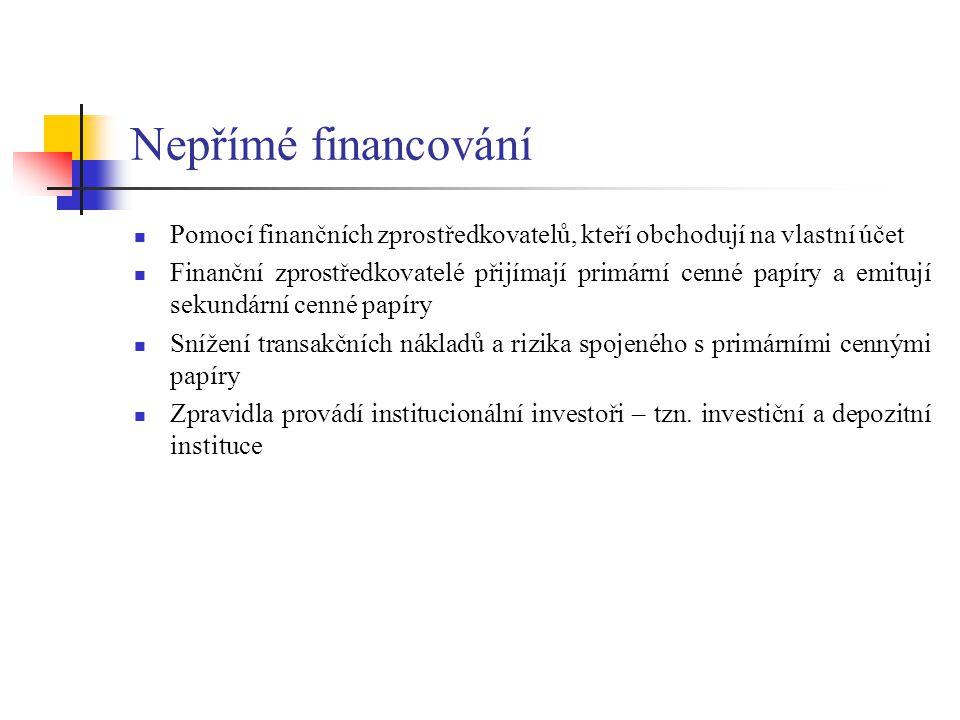 Nepřímé financování Pomocí finančních zprostředkovatelů, kteří obchodují na vlastní účet.