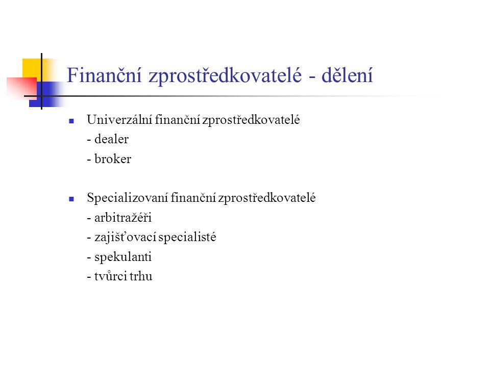Finanční zprostředkovatelé - dělení