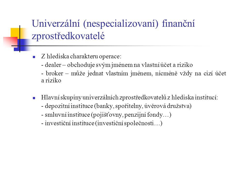 Univerzální (nespecializovaní) finanční zprostředkovatelé