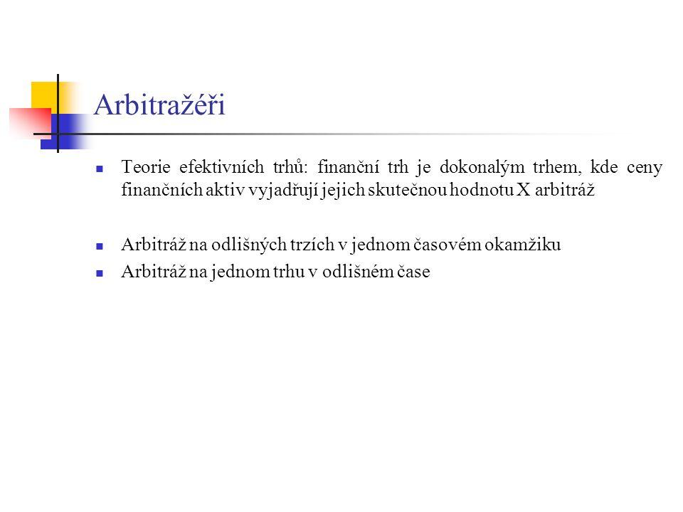 Arbitražéři Teorie efektivních trhů: finanční trh je dokonalým trhem, kde ceny finančních aktiv vyjadřují jejich skutečnou hodnotu X arbitráž.