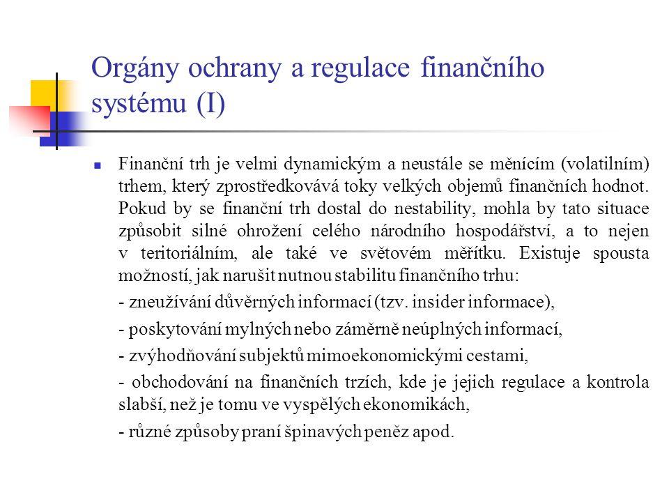 Orgány ochrany a regulace finančního systému (I)