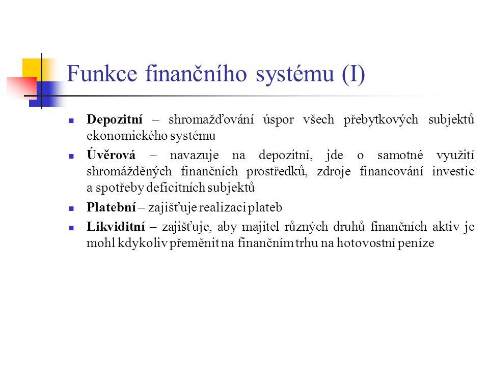Funkce finančního systému (I)