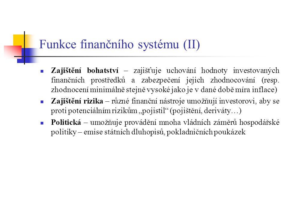 Funkce finančního systému (II)