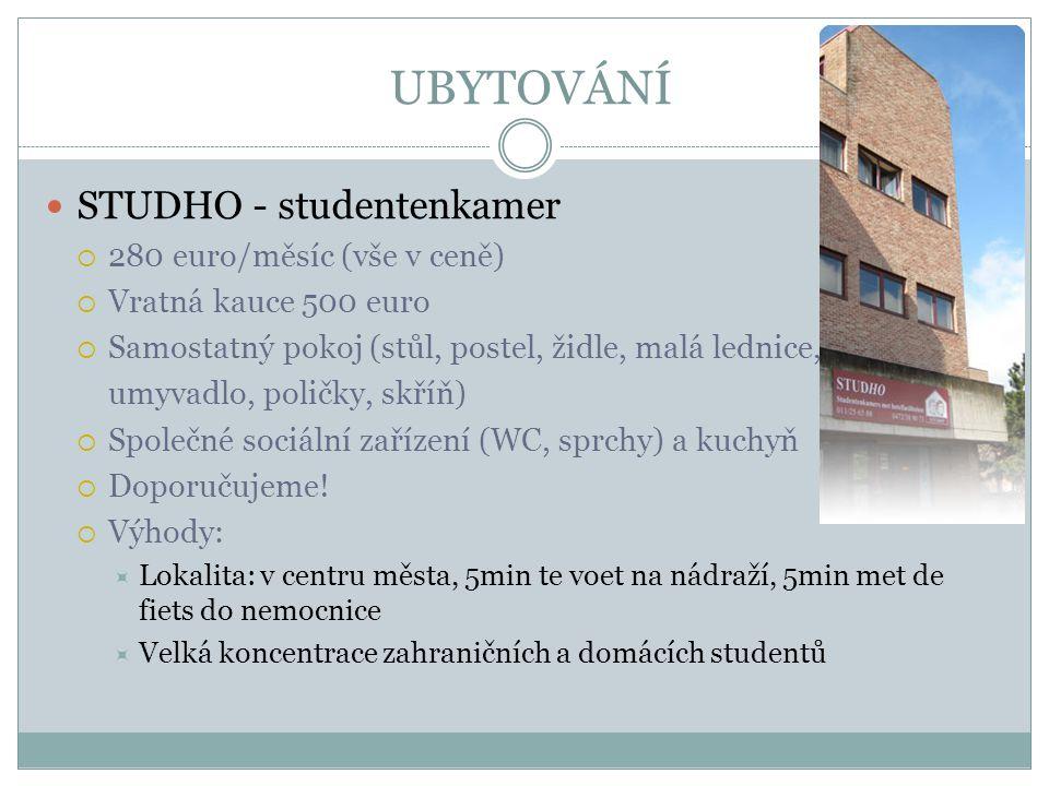 UBYTOVÁNÍ STUDHO - studentenkamer 280 euro/měsíc (vše v ceně)