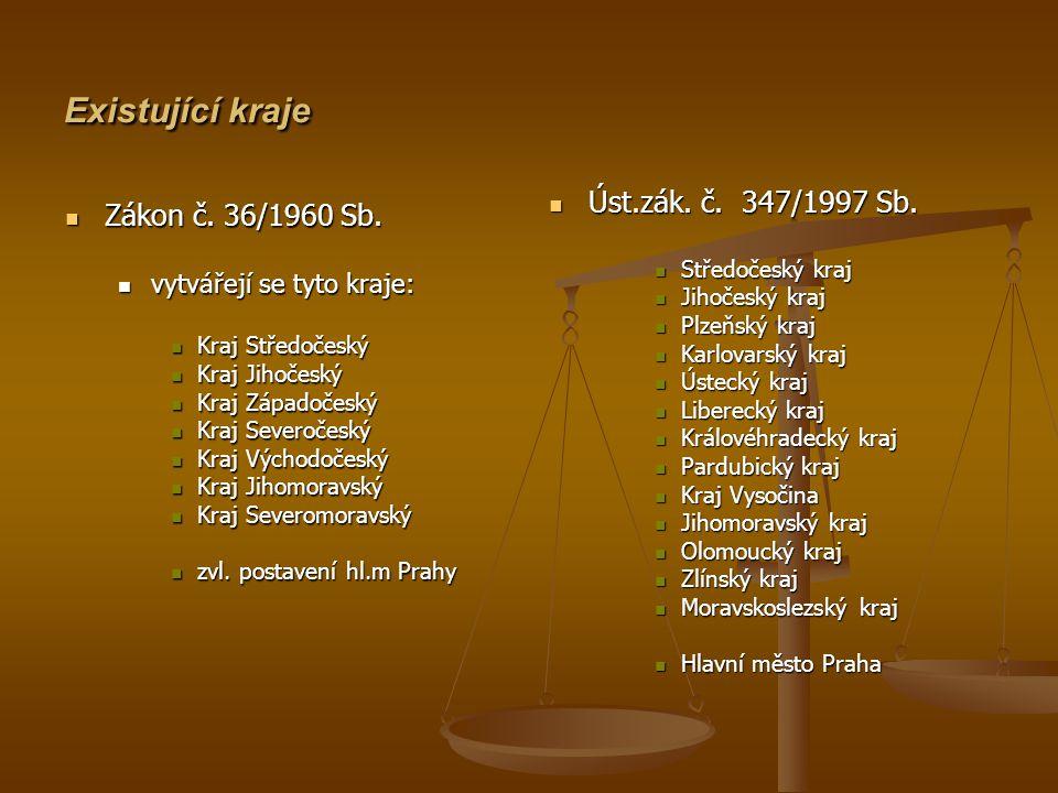 Existující kraje Zákon č. 36/1960 Sb. Úst.zák. č. 347/1997 Sb.