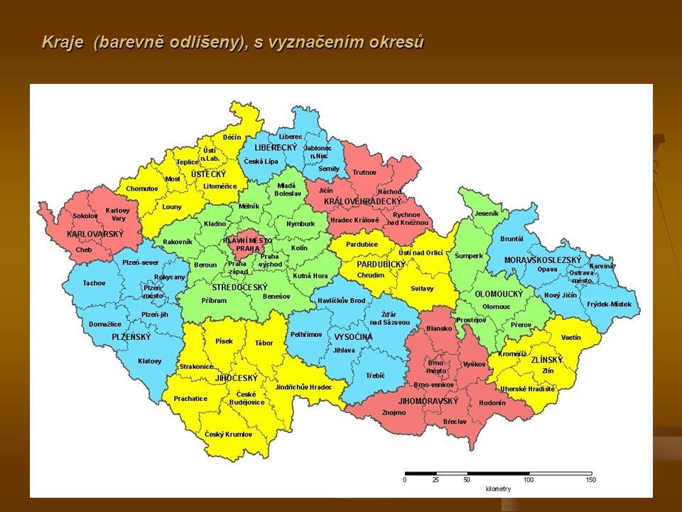 Kraje (barevně odlišeny), s vyznačením okresů