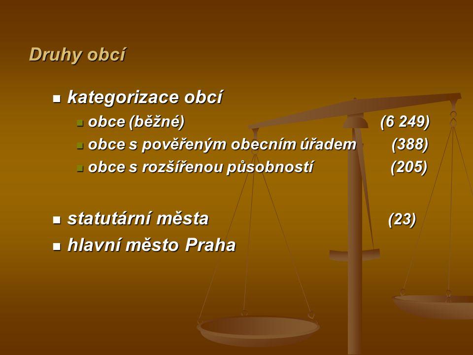 kategorizace obcí statutární města (23) hlavní město Praha Druhy obcí