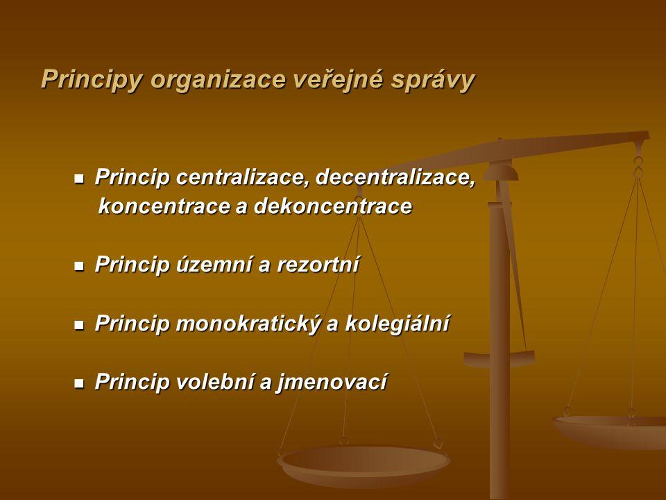 Principy organizace veřejné správy