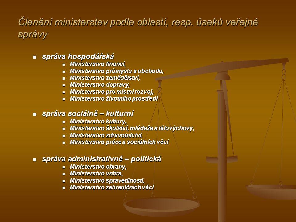 Členění ministerstev podle oblastí, resp. úseků veřejné správy