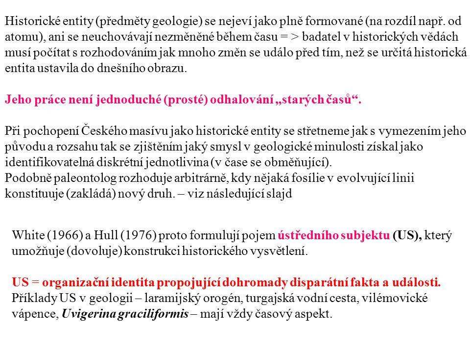 Historické entity (předměty geologie) se nejeví jako plně formované (na rozdíl např. od