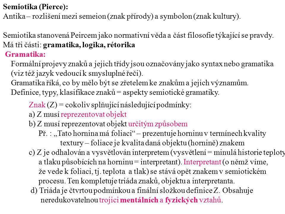 Semiotika (Pierce): Antika – rozlišení mezi semeion (znak přírody) a symbolon (znak kultury).