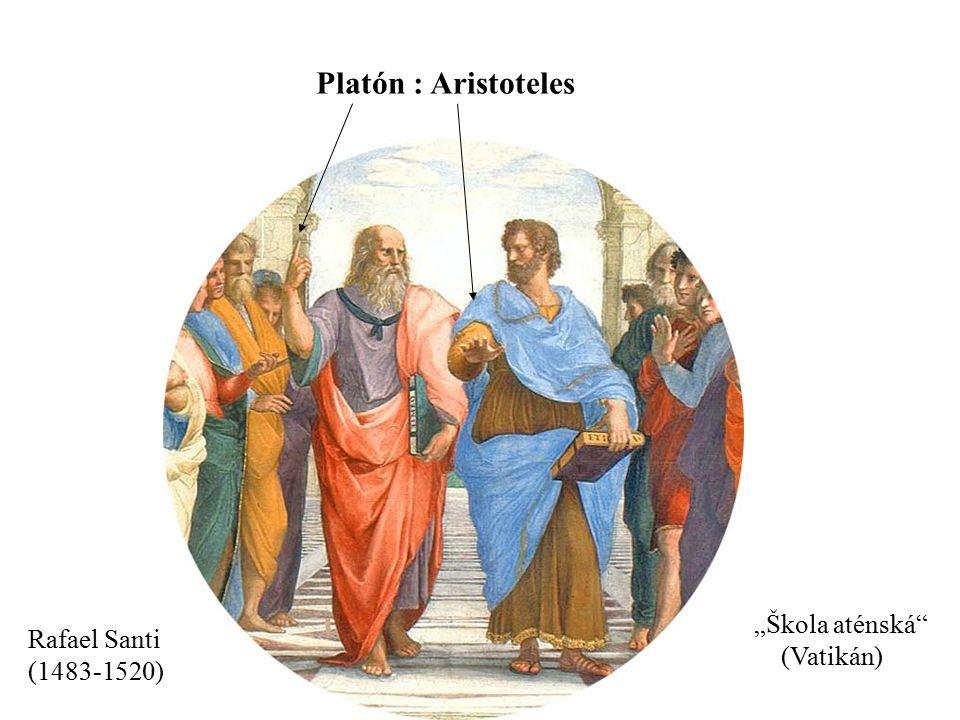 """Platón : Aristoteles """"Škola aténská Rafael Santi (Vatikán)"""