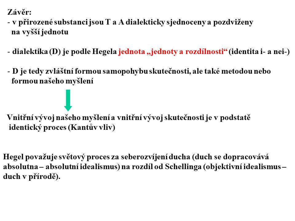 Závěr: v přirozené substanci jsou T a A dialekticky sjednoceny a pozdviženy. na vyšší jednotu.