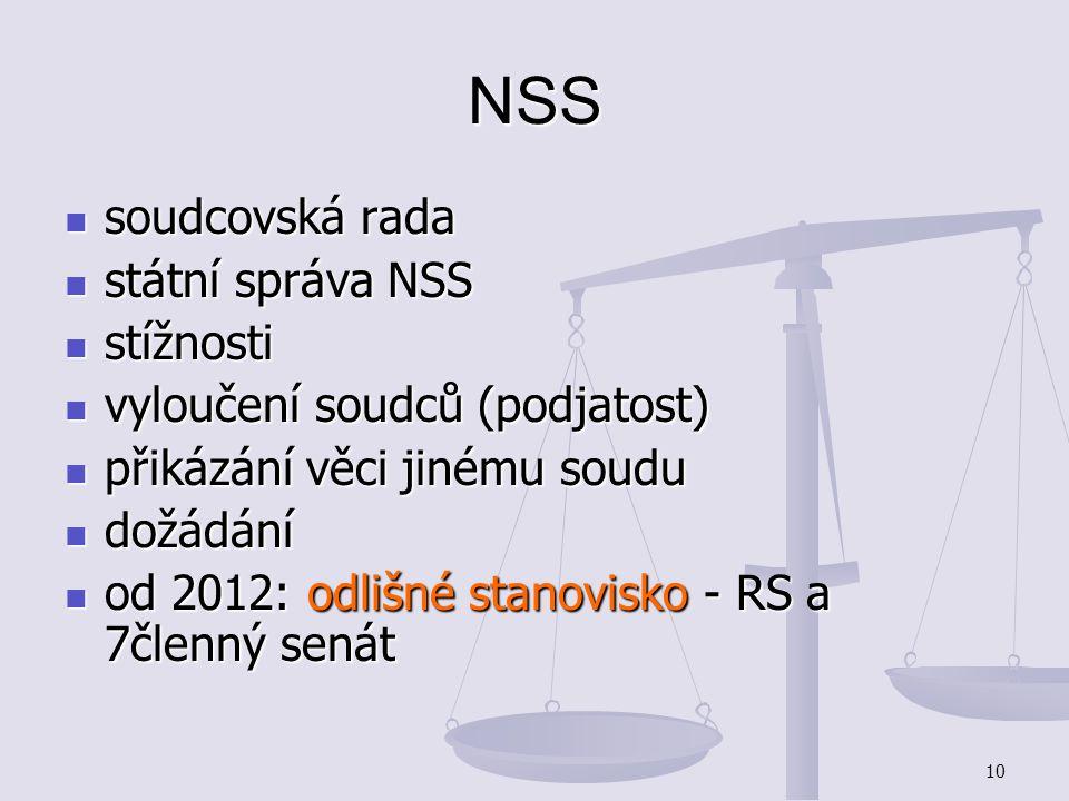 NSS soudcovská rada státní správa NSS stížnosti