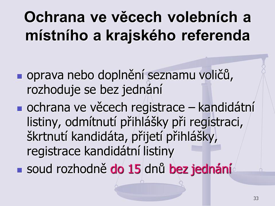 Ochrana ve věcech volebních a místního a krajského referenda