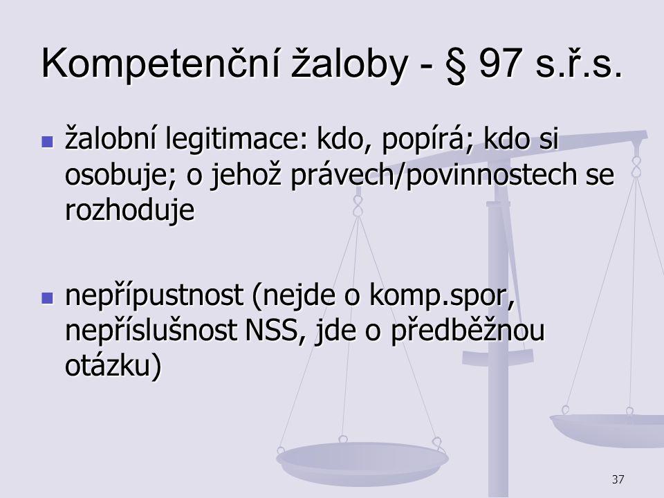 Kompetenční žaloby - § 97 s.ř.s.