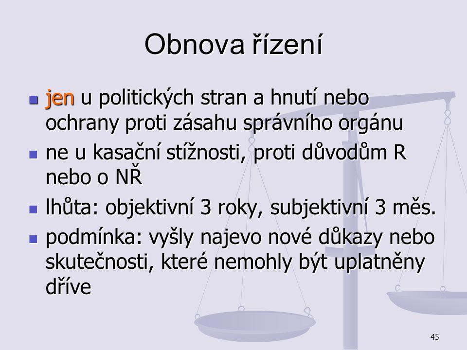 Obnova řízení jen u politických stran a hnutí nebo ochrany proti zásahu správního orgánu. ne u kasační stížnosti, proti důvodům R nebo o NŘ.