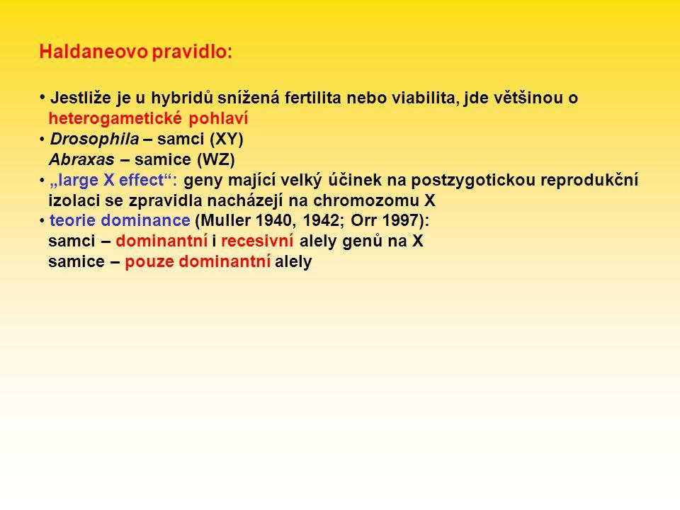 Haldaneovo pravidlo: Jestliže je u hybridů snížená fertilita nebo viabilita, jde většinou o heterogametické pohlaví.
