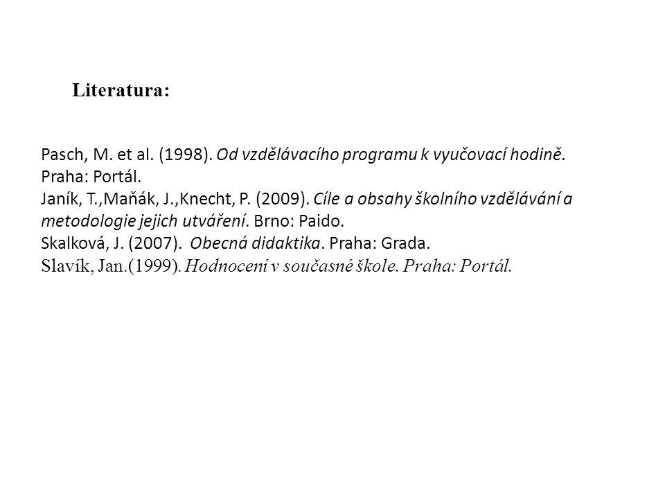 Literatura: Pasch, M. et al. (1998). Od vzdělávacího programu k vyučovací hodině. Praha: Portál.