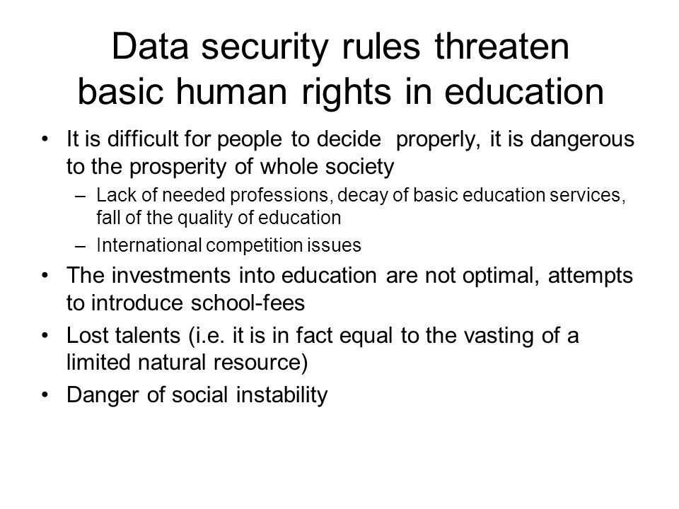 Data security rules threaten basic human rights in education