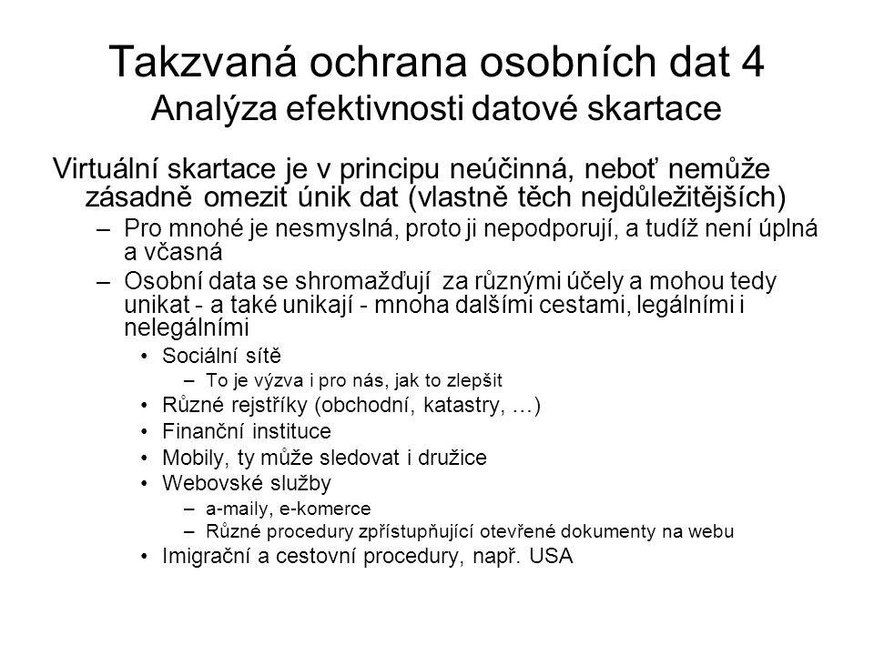 Takzvaná ochrana osobních dat 4 Analýza efektivnosti datové skartace