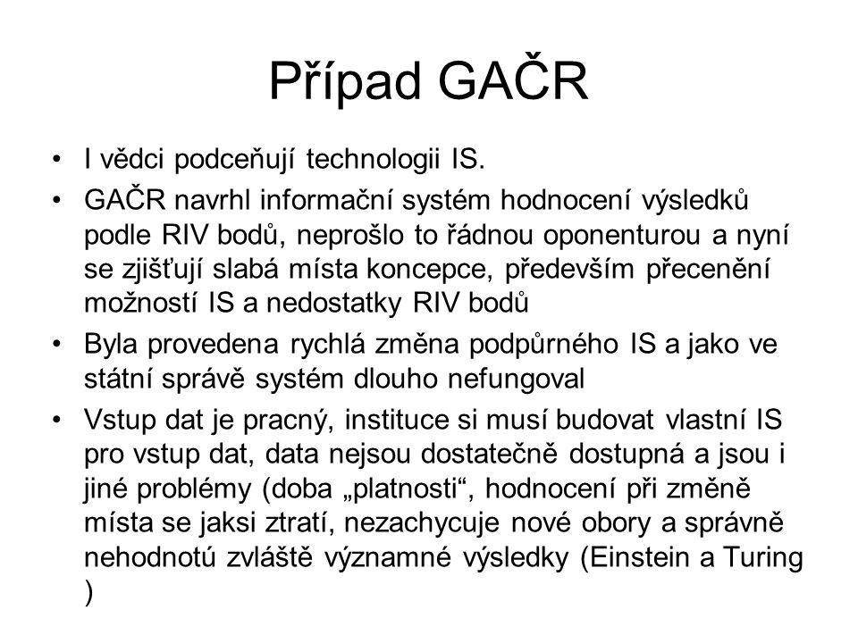 Případ GAČR I vědci podceňují technologii IS.